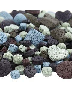 Lavapärlor, mix, stl. 6-37 mm, Hålstl. 1+2 mm, Innehållet kan variera , mixade färger, 20 strängar/ 1 förp.