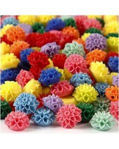 Blomsterpärlor, stl. 15x8 mm, Hålstl. 1,5 mm, mixade färger, 10x25 st./ 1 förp.
