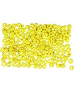 Rocaipärlor, Dia. 3 mm, stl. 8/0 , Hålstl. 0,6-1,0 mm, gul, 500 g/ 1 förp.