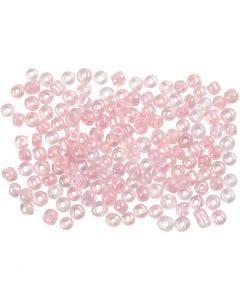 Rocaipärlor, Dia. 3 mm, stl. 8/0 , Hålstl. 0,6-1,0 mm, rosakärna, 500 g/ 1 förp.