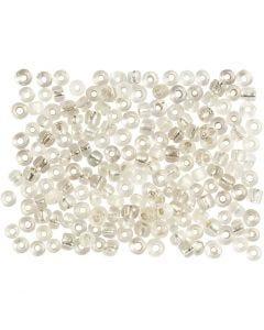 Rocaipärlor, Dia. 3 mm, stl. 8/0 , Hålstl. 0,6-1,0 mm, silver, 500 g/ 1 förp.