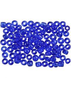 Rocaipärlor, Dia. 4 mm, stl. 6/0 , Hålstl. 0,9-1,2 mm, koboltblå, 500 g/ 1 förp.