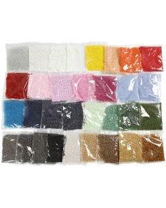 Rocaipärlor, Dia. 1,7+3+4 mm, stl. 6/0+8/0+15/0 , Hålstl. 0,5-1,2 mm, 32x100 g/ 1 förp.