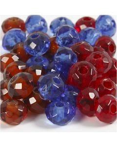 Glaslinks, stl. 9x14 mm, Hålstl. 4 mm, blå, brun, röd, 36 st./ 1 förp.
