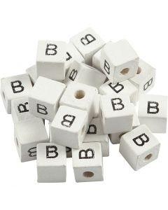 Bokstavspärlor, B, stl. 8x8 mm, Hålstl. 3 mm, vit, 25 st./ 1 förp.
