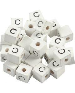 Bokstavspärlor, C, stl. 8x8 mm, Hålstl. 3 mm, vit, 25 st./ 1 förp.