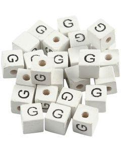 Bokstavspärlor, G, stl. 8x8 mm, Hålstl. 3 mm, vit, 25 st./ 1 förp.