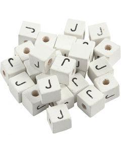 Bokstavspärlor, J, stl. 8x8 mm, Hålstl. 3 mm, vit, 25 st./ 1 förp.