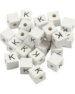 Bokstavspärlor, K, stl. 8x8 mm, Hålstl. 3 mm, vit, 25 st./ 1 förp.