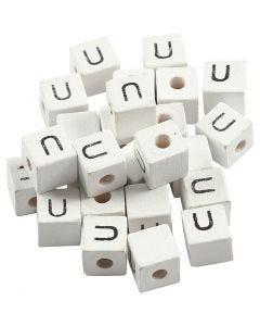 Bokstavspärlor, U, stl. 8x8 mm, Hålstl. 3 mm, vit, 25 st./ 1 förp.
