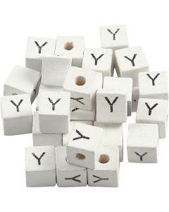 Bokstavspärlor, Y, stl. 8x8 mm, Hålstl. 3 mm, vit, 25 st./ 1 förp.