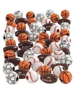 Sportpärlor, stl. 11-15 mm, Hålstl. 3-4 mm, mixade färger, 270 g/ 1 förp.