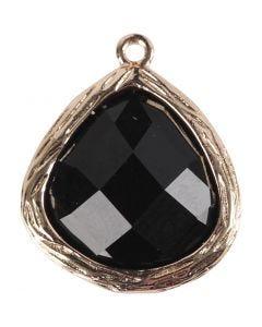 Smyckeberlock, stl. 15x18 mm, Hålstl. 1 mm, svart, 1 st.