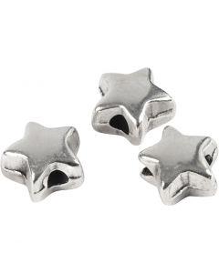 Ledpärla, stl. 5,5x5,5 mm, Hålstl. 1 mm, försilvrad, 3 st./ 1 förp.