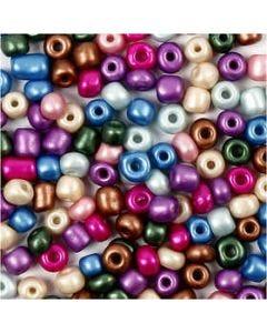 Rocaipärlor, Dia. 5 mm, stl. 4/0 , Hålstl. 1,2 mm, metallicfärger, 720 g/ 1 burk