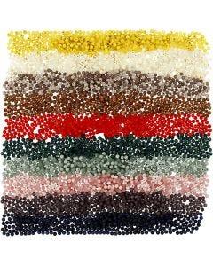 Plastpärlor, Dia. 6 mm, Hålstl. 1,5 mm, mixade färger, 10x40 g/ 1 förp.