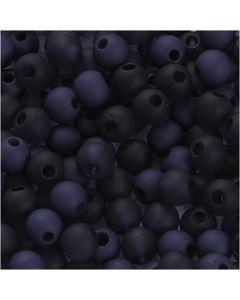 Plastpärlor, Dia. 6 mm, Hålstl. 2 mm, blå, 40 g/ 1 förp.