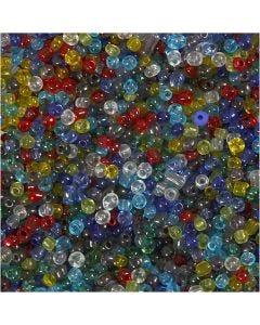 Rocaipärlor, Dia. 4 mm, stl. 6/0 , Hålstl. 0,9-1,2 mm, Blank transparent, 130 g/ 1 förp.