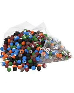 Link Beads, stl. 8x10 mm, Hålstl. 5 mm, mixade färger, 300 g/ 1 förp.