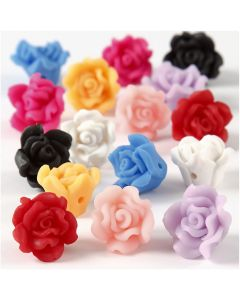 Clay Roses, Dia. 16x10 mm, Hålstl. 0,5 mm, mixade färger, 16 mix./ 1 sträng