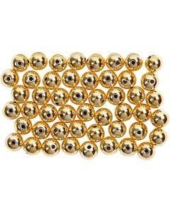 Vaxpärlor, Dia. 5 mm, Hålstl. 0,7 mm, guld, 100 st./ 1 förp.