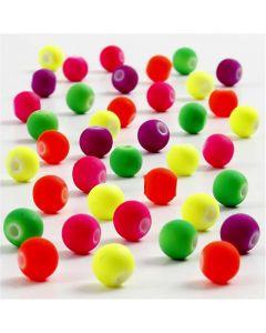 Neonpärlor, Dia. 6 mm, Hålstl. 1,2 mm, 50 g/ 1 förp.