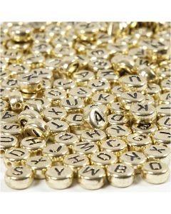 Bokstavspärlor, Dia. 7 mm, Hålstl. 1,2 mm, guld, 21 g/ 1 förp.