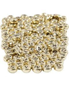 Bokstavspärlor, Dia. 7 mm, Hålstl. 1,2 mm, guld, 165 g/ 1 förp.