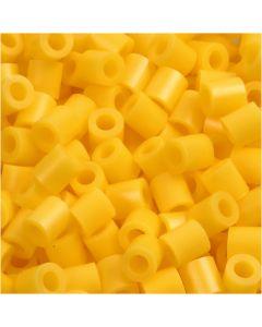 Rörpärlor, stl. 5x5 mm, Hålstl. 2,5 mm, medium, gul (32227), 1100 st./ 1 förp.