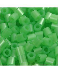 Rörpärlor, stl. 5x5 mm, Hålstl. 2,5 mm, medium, grön pärlemor (32240), 1100 st./ 1 förp.