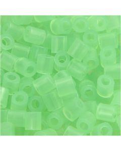 Rörpärlor, stl. 5x5 mm, Hålstl. 2,5 mm, medium, neongrön (32237), 1100 st./ 1 förp.