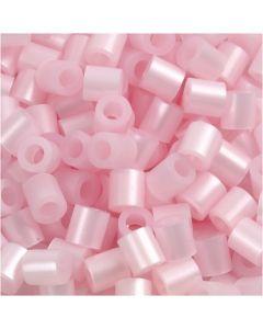Rörpärlor, stl. 5x5 mm, Hålstl. 2,5 mm, medium, rosa pärlemor (32259), 6000 st./ 1 förp.