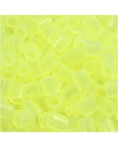 Rörpärlor, stl. 5x5 mm, Hålstl. 2,5 mm, medium, neongul (32223), 1100 st./ 1 förp.