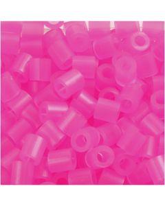 Rörpärlor, stl. 5x5 mm, Hålstl. 2,5 mm, medium, rosa neon (32257), 1100 st./ 1 förp.