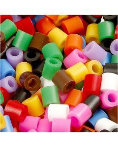 Rörpärlor, stl. 5x5 mm, Hålstl. 2,5 mm, medium, standardfärger, 5000 mix./ 1 förp.