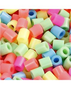 Rörpärlor, stl. 5x5 mm, Hålstl. 2,5 mm, medium, pastellfärger, 6000 mix./ 1 förp.