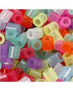 Rörpärlor, stl. 5x5 mm, Hålstl. 2,5 mm, medium, glitter färger, 6000 mix./ 1 förp.