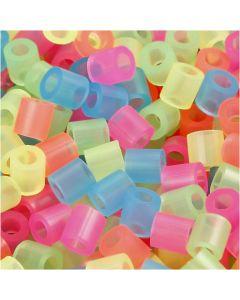 Rörpärlor, stl. 5x5 mm, Hålstl. 2,5 mm, medium, neonfärger, 6000 mix./ 1 förp.