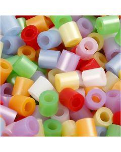 Rörpärlor, stl. 5x5 mm, Hålstl. 2,5 mm, medium, pärlemorsfärger, 30000 mix./ 1 förp.
