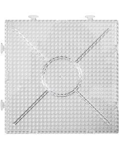 Pärlplatta, stor ihopsättningsbar kvadrat, stl. 15x15 cm, transparent, 2 st./ 1 förp.