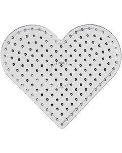 Pärlplattor, hjärta, JUMBO, transparent, 5 st./ 1 förp.