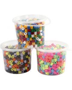 Rörpärlor, stl. 10x10 mm, Hålstl. 5,5 mm, JUMBO, mixade färger, 3x550 mix./ 1 förp.