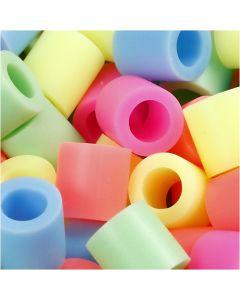 Rörpärlor, stl. 10x10 mm, Hålstl. 5,5 mm, JUMBO, pastellfärger, 550 mix./ 1 förp.