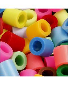 Rörpärlor, stl. 10x10 mm, Hålstl. 5,5 mm, JUMBO, kompletterande färger, 1000 mix./ 1 förp.
