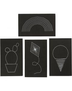 String Art plattor, stl. 20x12 cm, tjocklek 10 mm, svart, 16 st./ 1 förp.