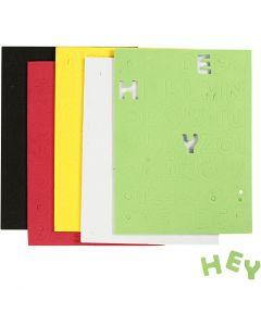 Dekorgummi, stl. 2-2,3 cm, mixade färger, 5 ark/ 1 förp.