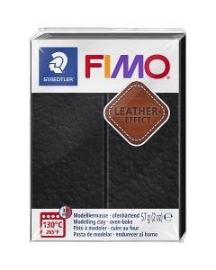 FIMO® Leather Effect, black (909), 57 g/ 1 förp.