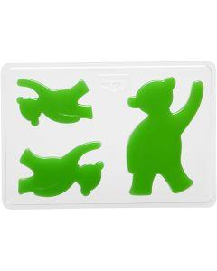 Gjutformar, Björnar, H: 6+8+10 cm, stl. 14,9x22 cm, 1 st.