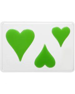 Gjutformar, Hjärtan, H: 6+8+10 cm, stl. 14,9x22 cm, 1 st.