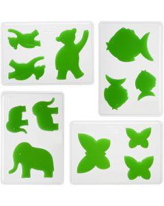 Gjutformar, djur, H: 6+8+10 cm, stl. 14,9x22 cm, 4 st./ 1 förp.
